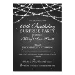 Surprise Birthday Party String of Stars Black 5x7 Paper Invitation Card