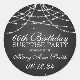 Surprise Birthday Party String of Stars Black Classic Round Sticker