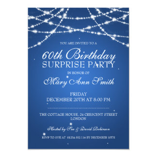 Surprise Birthday Party String of Stars Blue 5x7 Paper Invitation Card