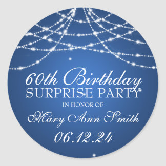 Surprise Birthday Party String of Stars Blue Classic Round Sticker