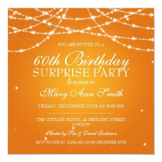 Surprise Birthday Party String of Stars Orange Card