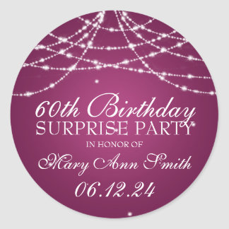 Surprise Birthday Party String of Stars Pink Classic Round Sticker