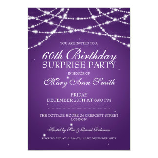 Surprise Birthday Party String of Stars Purple Card