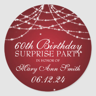 Surprise Birthday Party String of Stars Red Classic Round Sticker