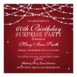 Surprise Birthday Party String of Stars Red 5.25x5.25 Square Paper Invitation Card