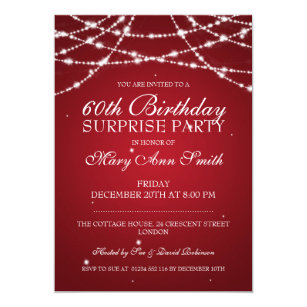 Surprise 60th birthday invitations zazzle surprise birthday party string of stars red invitation filmwisefo