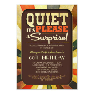 surprise birthday party vintage typography invites