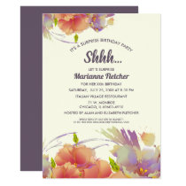 Surprise Birthday Party. Watercolor Floral Invites