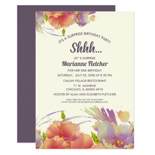 Surprise Birthday Party Watercolor Floral Invites