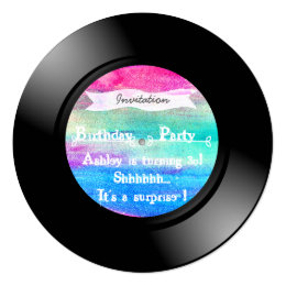 Surprise Birthday Party Watercolor Vinyl Record Card