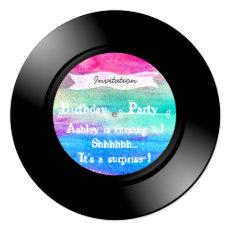Surprise Birthday Party Watercolor Vinyl Record 5.25x5.25 Square Paper Invitation Card