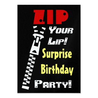 SURPRISE Birthday Party Zip Your Lip Template Card