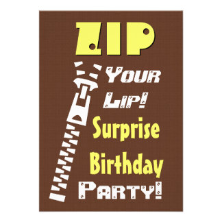 SURPRISE Birthday Party Zip Your Lip V14 Invite