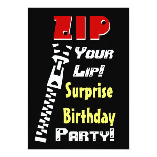 SURPRISE Birthday Party Zip Your Lip V2 Card