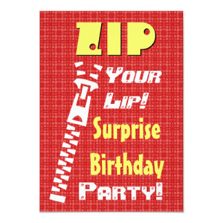 SURPRISE Birthday Party Zip Your Lip V4 Card
