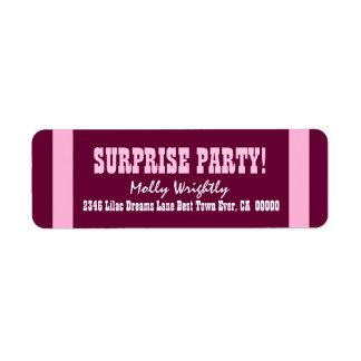 SURPRISE BIRTHDAY PINK Stripes V15 Labels