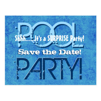 SURPRISE Birthday Pool Party Save the Date V064 Postcard