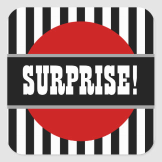 SURPRISE Birthday Stripes Circle Party Favor F08 Square Sticker