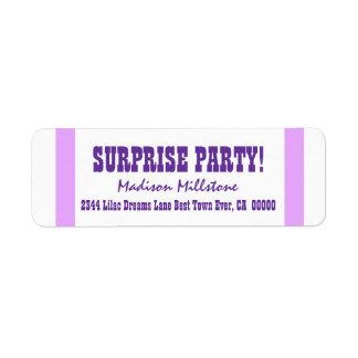 SURPRISE BIRTHDAY V013 PURPLE STRIPES CUSTOM RETURN ADDRESS LABELS