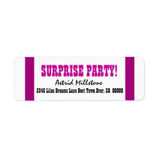 SURPRISE BIRTHDAY V021 MAGENTA STRIPES LABELS