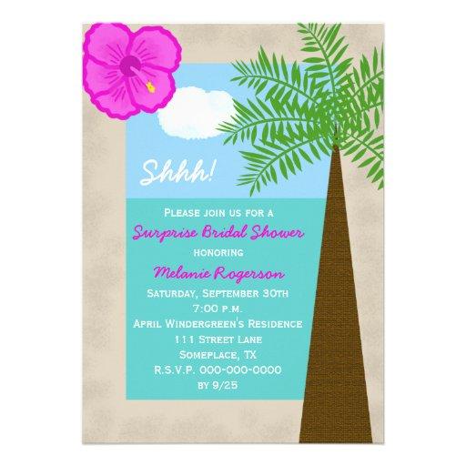 Surprise Bridal Shower Invitation Tropical 5 X 7 Invitation Card