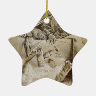 Surprise cat ceramic ornament