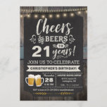 """Surprise Cheers and Beers 21st Birthday Invitation<br><div class=""""desc"""">Surprise Cheers and Beers 21st Birthday Invitation featuring chalk board and lettering with customize-able age.</div>"""