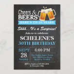 """Surprise Cheers and Beers 30th Birthday Invitation<br><div class=""""desc"""">Surprise Cheers and Beers 30th Birthday Invitation Card. Adult Birthday. Blue. 16th 18th 21st 30th 40th 50th 60th 70th 80th 90th 100th. Any Age. For further customization,  please click the """"Customize it"""" button and use our design tool to modify this template.</div>"""