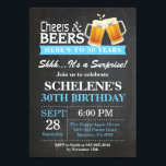 "Surprise Cheers and Beers 30th Birthday Invitation<br><div class=""desc"">Surprise Cheers and Beers 30th Birthday Invitation Card. Adult Birthday. Blue. 16th 18th 21st 30th 40th 50th 60th 70th 80th 90th 100th. Any Age. For further customization,  please click the &quot;Customize it&quot; button and use our design tool to modify this template.</div>"