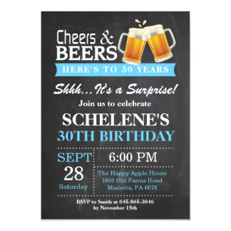 Surprise Cheers and Beers 30th Birthday Invitation