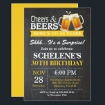 "Surprise Cheers and Beers 30th Birthday Invitation<br><div class=""desc"">Surprise Cheers and Beers 30th Birthday Invitation Card. Adult Birthday. Yellow. 16th 18th 21st 30th 40th 50th 60th 70th 80th 90th 100th. Any Age. For further customization,  please click the ""Customize it"" button and use our design tool to modify this template.</div>"