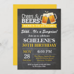 """Surprise Cheers and Beers 30th Birthday Invitation<br><div class=""""desc"""">Surprise Cheers and Beers 30th Birthday Invitation Card. Adult Birthday. Yellow. 16th 18th 21st 30th 40th 50th 60th 70th 80th 90th 100th. Any Age. For further customization,  please click the """"Customize it"""" button and use our design tool to modify this template.</div>"""