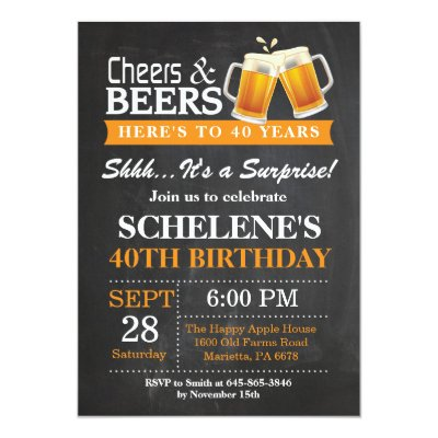 Cheers beers chalkboard 40th birthday invitation zazzle stopboris Images