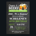 "Surprise Cheers and Beers 40th Birthday Invitation<br><div class=""desc"">Surprise Cheers and Beers 40th Birthday Invitation Card. Adult Birthday. Green. 16th 18th 21st 30th 40th 50th 60th 70th 80th 90th 100th. Any Age. For further customization,  please click the ""Customize it"" button and use our design tool to modify this template.</div>"
