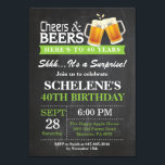 """Surprise Cheers and Beers 40th Birthday Invitation<br><div class=""""desc"""">Surprise Cheers and Beers 40th Birthday Invitation Card. Adult Birthday. Green. 16th 18th 21st 30th 40th 50th 60th 70th 80th 90th 100th. Any Age. For further customization,  please click the """"Customize it"""" button and use our design tool to modify this template.</div>"""