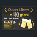 """Surprise Cheers and Beers 40th Birthday Invitation<br><div class=""""desc"""">Surprise Cheers and Beers 40th Birthday Invitation. Adult Birthday. Beer Birthday for men. Chalkboard Black and White Background. For further customization,  please click the """"Customize it"""" button and use our design tool to modify this template.</div>"""