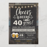 """Surprise Cheers and Beers 40th Birthday Invitation<br><div class=""""desc"""">Surprise Cheers and Beers 40th Birthday Invitation featuring chalk board and lettering with customize-able age.</div>"""