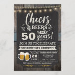 """Surprise Cheers and Beers 50th Birthday Invitation<br><div class=""""desc"""">Surprise Cheers and Beers 50th Birthday Invitation featuring chalk board and lettering with customize-able age.</div>"""