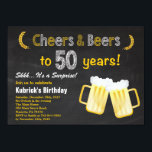 """Surprise Cheers and Beers 50th Birthday Invitation<br><div class=""""desc"""">Surprise Cheers and Beers 50th Birthday Invitation. Adult Birthday. Beer Birthday for men. Chalkboard Black and White Background. For further customization,  please click the """"Customize it"""" button and use our design tool to modify this template.</div>"""