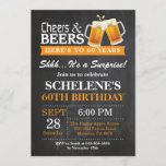 """Surprise Cheers and Beers 60th Birthday Invitation<br><div class=""""desc"""">Surprise Cheers and Beers 60th Birthday Invitation Card. Adult Birthday. Orange. 16th 18th 21st 30th 40th 50th 60th 70th 80th 90th 100th. Any Age. For further customization,  please click the """"Customize it"""" button and use our design tool to modify this template.</div>"""