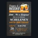 """Surprise Cheers and Beers 60th Birthday Invitation<br><div class=""""desc"""">Surprise Cheers and Beers 60th Birthday Invitation Card. Adult Birthday. Orange. 16th 18th 21st 30th 40th 50th 60th 70th 80th 90th 100th. Any Age. For further customization,  please click the &quot;Customize it&quot; button and use our design tool to modify this template.</div>"""