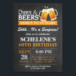 "Surprise Cheers and Beers 60th Birthday Invitation<br><div class=""desc"">Surprise Cheers and Beers 60th Birthday Invitation Card. Adult Birthday. Orange. 16th 18th 21st 30th 40th 50th 60th 70th 80th 90th 100th. Any Age. For further customization,  please click the ""Customize it"" button and use our design tool to modify this template.</div>"