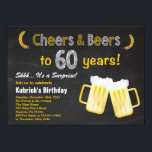 "Surprise Cheers and Beers 60th Birthday Invitation<br><div class=""desc"">Surprise Cheers and Beers 60th Birthday Invitation. Adult Birthday. Beer Birthday for men. Chalkboard Black and White Background. For further customization,  please click the ""Customize it"" button and use our design tool to modify this template.</div>"