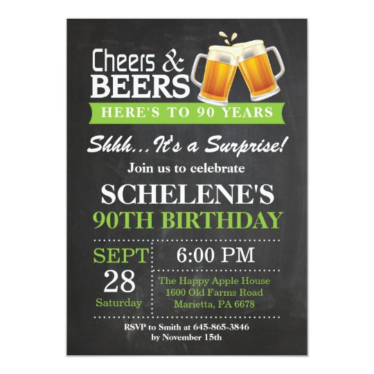Surprise Cheers And Beers 90th Birthday Invitation Zazzle Com