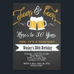 """Surprise Cheers &amp; Beers Birthday Party Invitation<br><div class=""""desc"""">Color can be changed. Matching party items also available! Email seasidepapercompany@gmail.com for more info Some clipart designed by freepik.com</div>"""