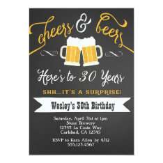 Surprise Cheers & Beers Birthday Party Invitation at Zazzle