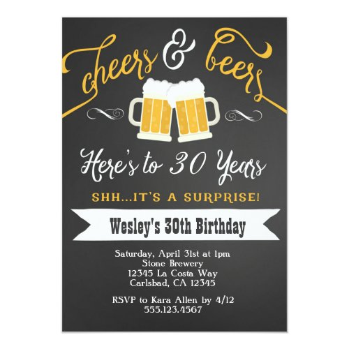 Surprise Cheers  Beers Birthday Party Invitation