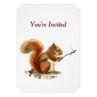 Surprise Cookout BBQ Birthday Squirrel Humor Invitation