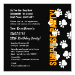 SURPRISE Custom Year Birthday Paw Prints V059 Personalized Announcement