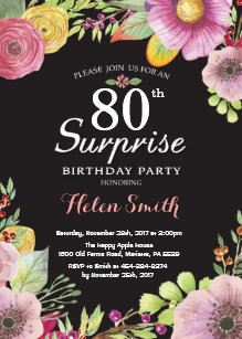 Surprise Floral 80th Birthday Invitation For Women